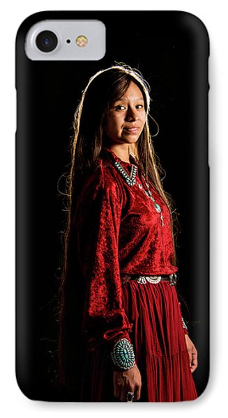 Young Navajo Girl Dressed In Finery IPhone Case by Elizabeth Hershkowitz