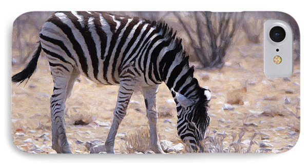 IPhone Case featuring the digital art Young Plains Zebra by Ernie Echols