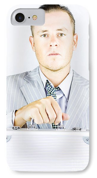 Young Sincere Businessman IPhone Case by Jorgo Photography - Wall Art Gallery