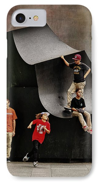 Young Skaters Around A Sculpture IPhone Case by Pedro L Gili