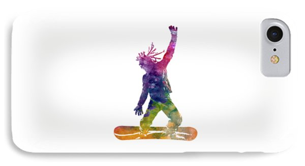 Young Snowboarder Man 01 In Watercolor IPhone Case by Pablo Romero