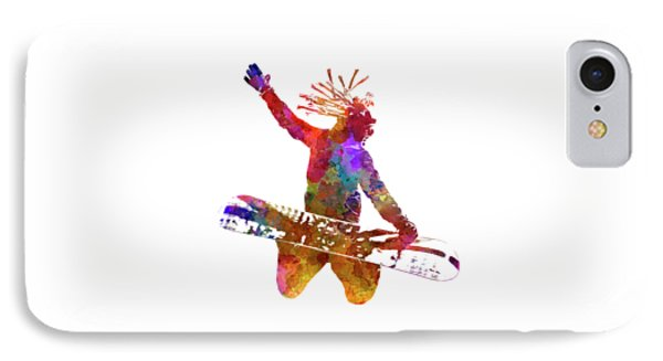 Young Snowboarder Man 02 In Watercolor IPhone Case by Pablo Romero