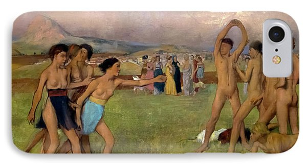 Young Spartans Exercising, By Edgar Degas, Circa 1860,national  IPhone Case by Peter Barritt