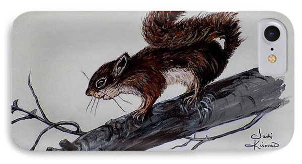 IPhone Case featuring the painting Young Squirrel by Judy Kirouac