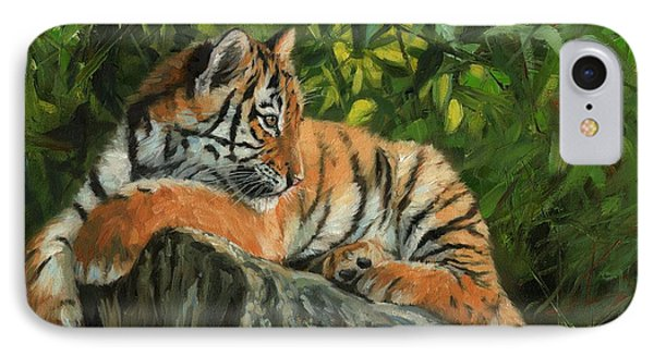 IPhone Case featuring the painting Young Tiger Resting On Rock by David Stribbling
