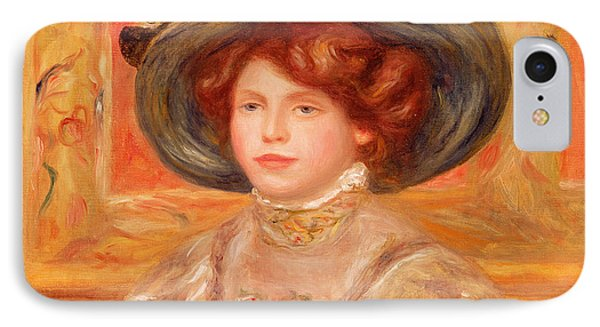 Young Woman In A Blue Hat IPhone Case by Pierre Auguste Renoir