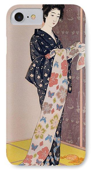 Young Woman In A Summer Kimono IPhone Case by Goyo Hashiguchi