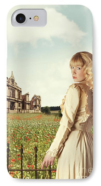 Young Woman In English Countryside IPhone Case by Amanda Elwell