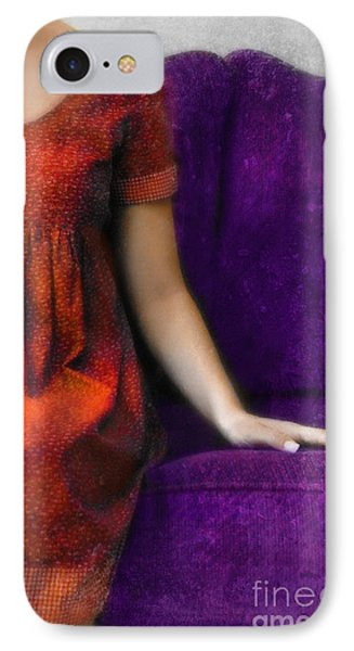 Young Woman In Red On Purple Couch Phone Case by Jill Battaglia