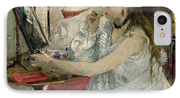 Young Woman Powdering Her Face IPhone Case by Berthe Morisot