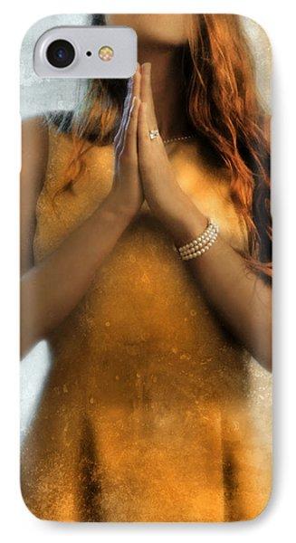 Young Woman Praying Phone Case by Jill Battaglia