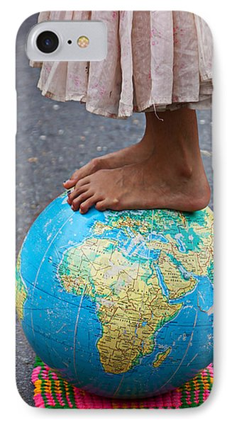 Young Woman Standing On Globe IPhone Case