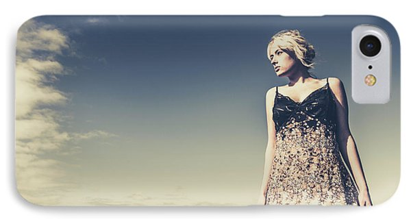 Young Woman Standing On The Beach IPhone Case by Jorgo Photography - Wall Art Gallery