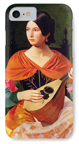 Young Woman With A Mandolin IPhone Case by Vekoslav Karas