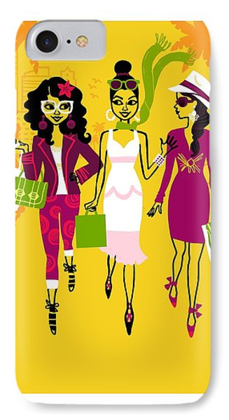 Young Women With Shopping Bags IPhone Case by Gillham Studios