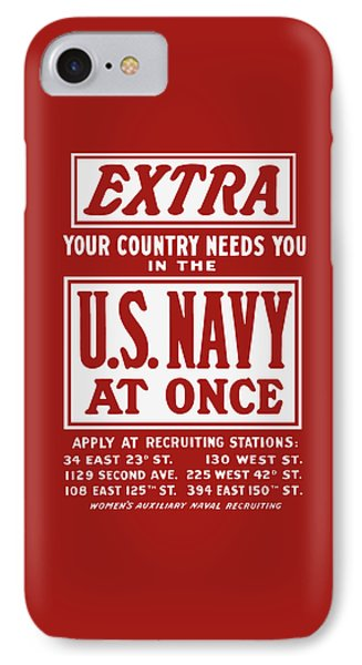 Your Country Needs You In The Us Navy IPhone Case by War Is Hell Store
