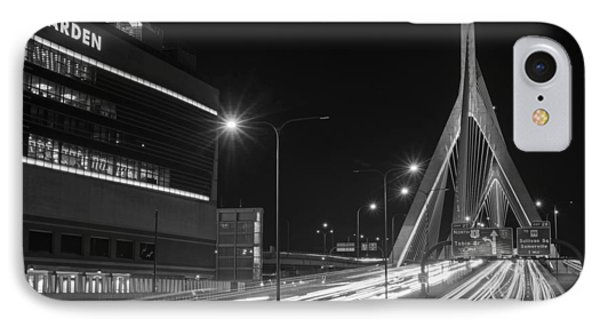 Zakim Bridge And Td Garden Boston Ma Long Exposure Black And White IPhone Case by Toby McGuire