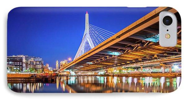 Zakim Bunker Hill Bridge At Night Photo IPhone Case by Paul Velgos