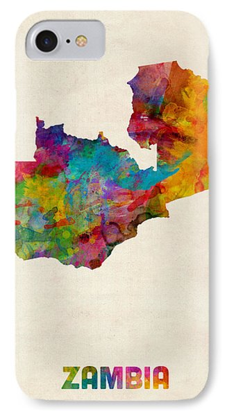 Zambia Watercolor Map IPhone Case by Michael Tompsett