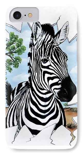 IPhone Case featuring the painting Zany Zebra by Teresa Wing