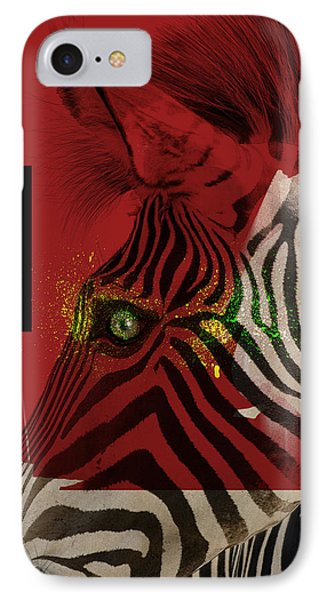 IPhone Case featuring the digital art Zebra 4.0 by Nola Lee Kelsey
