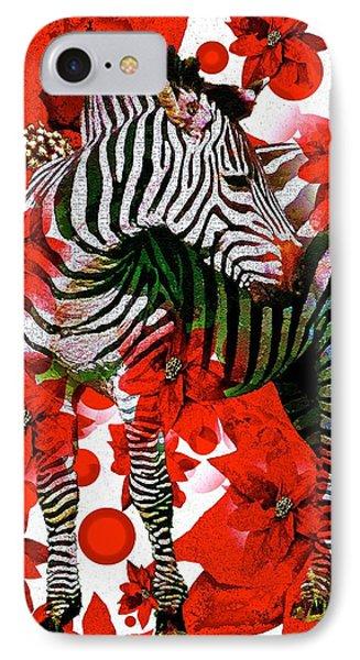 Zebra And Flowers IPhone Case by Saundra Myles
