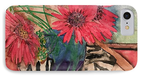Zebra And Red Sunflowers  IPhone Case