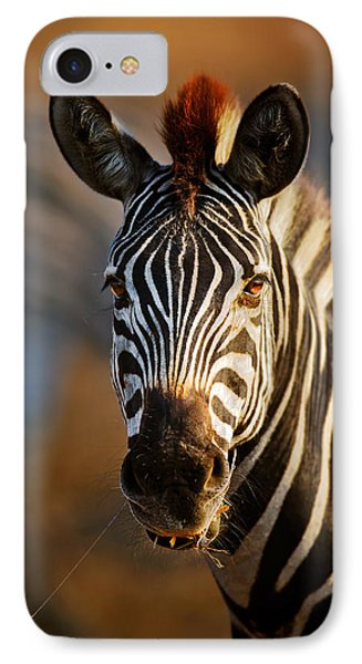 Zebra Close-up Portrait IPhone Case by Johan Swanepoel