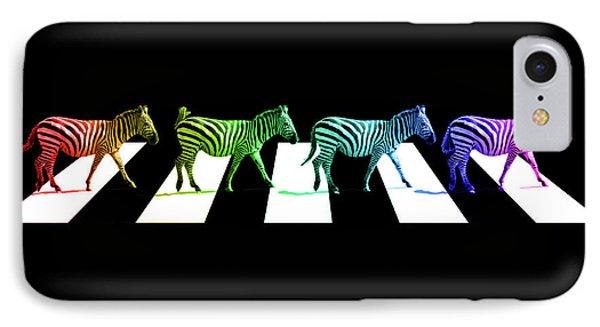 Zebra Crossing Pop Art On Black And White IPhone Case by Gill Billington