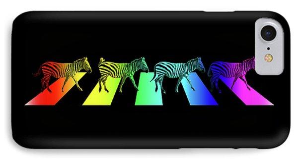 Zebra Crossing Pop Art On Black IPhone Case by Gill Billington