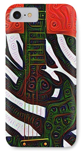 Zebra Guitar Rendering IPhone Case by Bill Cannon