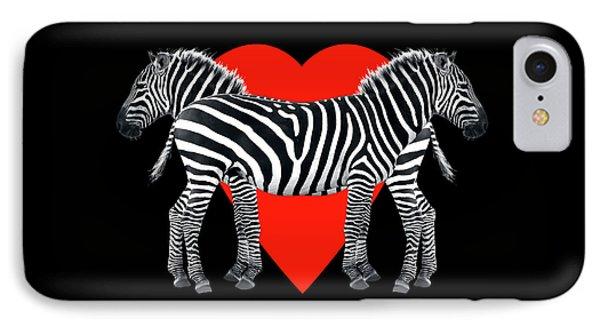 Zebra Love IPhone Case by Gill Billington