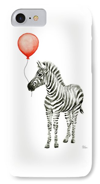 Zebra With Red Balloon Whimsical Baby Animals IPhone Case by Olga Shvartsur
