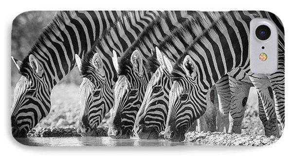 Zebras Drinking IPhone 7 Case by Inge Johnsson