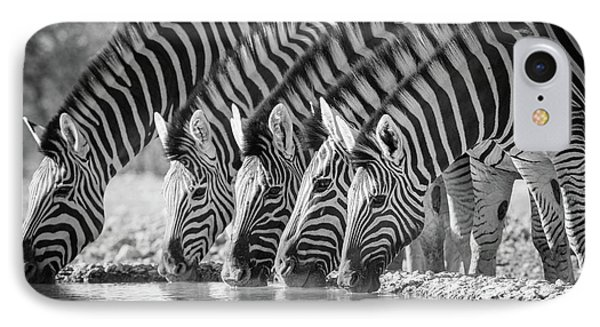 Zebras Drinking IPhone Case by Inge Johnsson