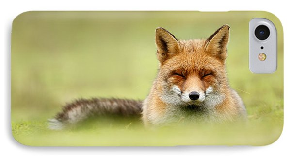 Zen Fox Series - Zen Fox In A Sea Of Green IPhone Case by Roeselien Raimond