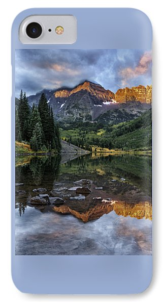 Zen Moment At Maroon Lake IPhone Case by Thomas Schoeller