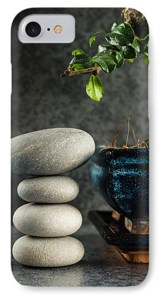 Zen Stones And Bonsai Tree IPhone Case by Marco Oliveira