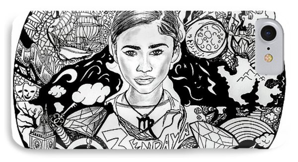 Zendaya's Neverland Black And White Drawing IPhone Case by Kenal Louis