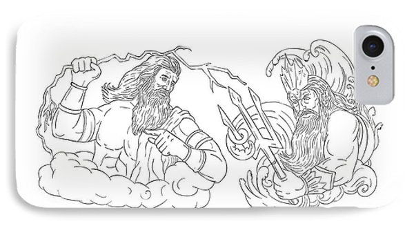 Zeus Vs Poseidon Black And White Drawing IPhone Case