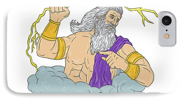 Zeus Wielding Thunderbolt Lightning Drawing IPhone Case