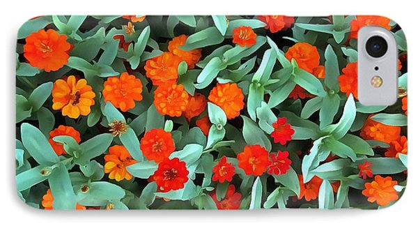 IPhone Case featuring the photograph Zinnia Flower - Profusion Orange by Janine Riley