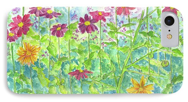 IPhone Case featuring the painting Zinnias  by Cathie Richardson