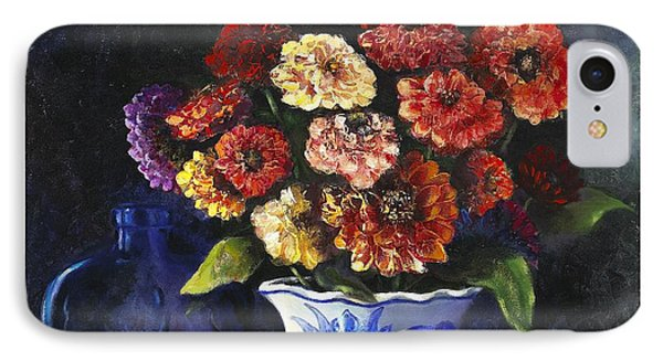IPhone Case featuring the painting Zinnias by Marlene Book