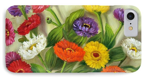 IPhone Case featuring the painting Zinnias by Randol Burns