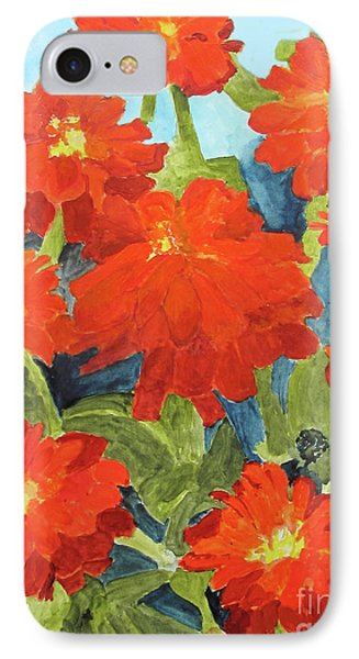 IPhone Case featuring the painting Zinnias by Sandy McIntire