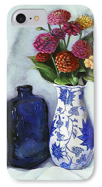 IPhone Case featuring the painting Zinnias With Blue Bottle by Marlene Book