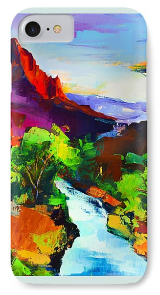 IPhone Case featuring the painting Zion - The Watchman And The Virgin River by Elise Palmigiani