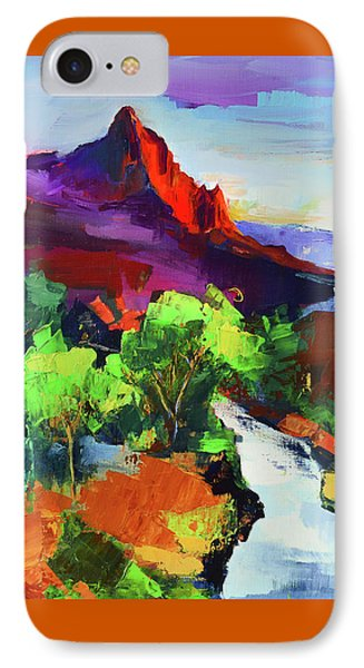 IPhone Case featuring the painting Zion - The Watchman And The Virgin River Vista by Elise Palmigiani