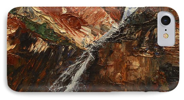 IPhone Case featuring the painting Zions Waterfall by Jane Autry